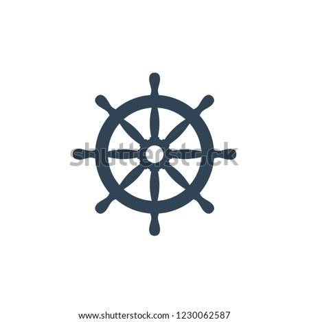 Ship wheel vector icon. Ship's steering wheel simple design.