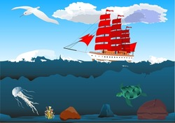Ship with red sails running in the ocean waves, underwater world, sea depth.