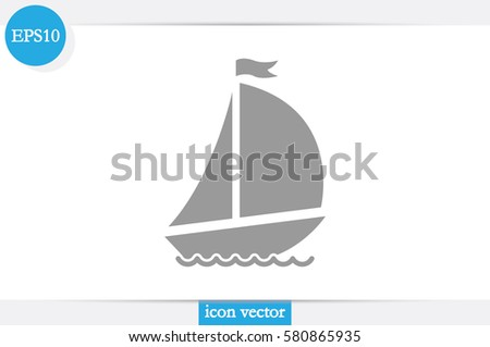 ship with sails icon vector illustration .