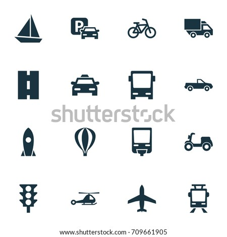 Shipment Icons Set. Collection Of Railroad, Cab, Yacht And Other Elements. Also Includes Symbols Such As Trolley, Camion, Car.
