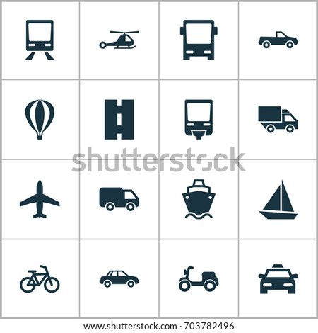 Shipment Icons Set. Collection Of Way, Chopper, Skooter And Other Elements. Also Includes Symbols Such As Cabriolet, Airship, Monorail.