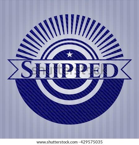 Shipped jean or denim emblem or badge background