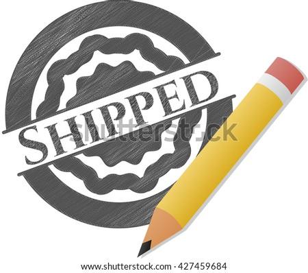 Shipped pencil strokes emblem