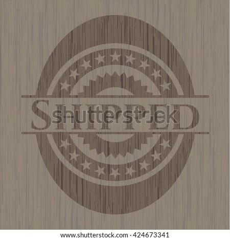 Shipped retro wood emblem