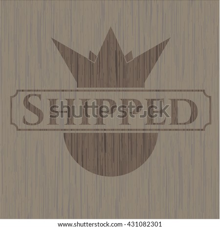 Shipped wooden emblem. Retro