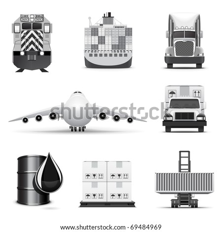 Shipping and cargo icons | B&W series - stock vector