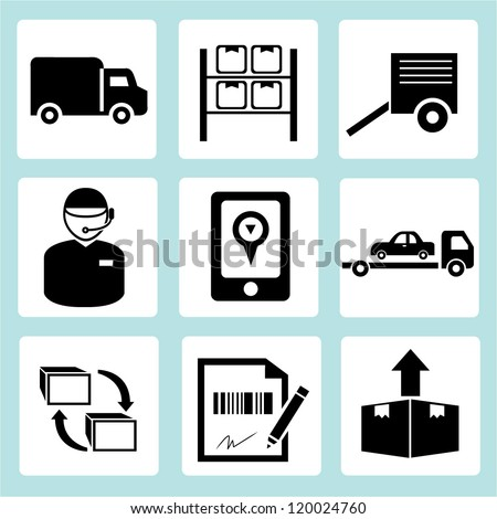 shipping and customer service icon set