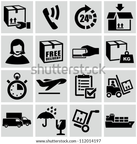 Shipping and delivery icons set.