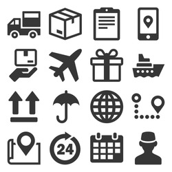 Shipping and Delivery Icons Set on White Background. Vector
