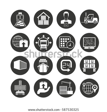shipping and logistics icon set in circle button