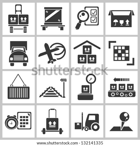 shipping and transportation concept icon set