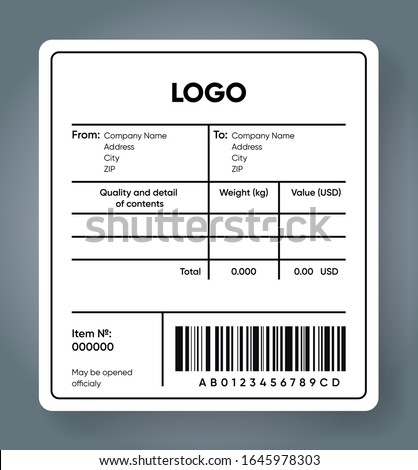 Shipping bar code label. Cargo sticker. Product and price with barcode template. Delivery sticker mockup.  Sender and recipient information text area. Vector illustration