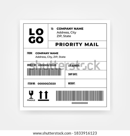 Shipping barcode sticker label template.
