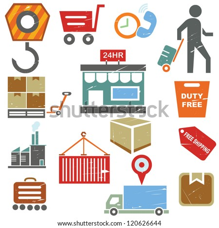 shipping business icons, supply chain management in grunge and vintage ...