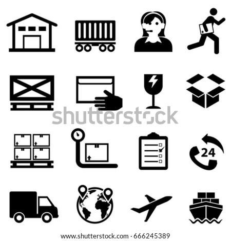 Shipping, cargo, delivery and warehouse web icon set