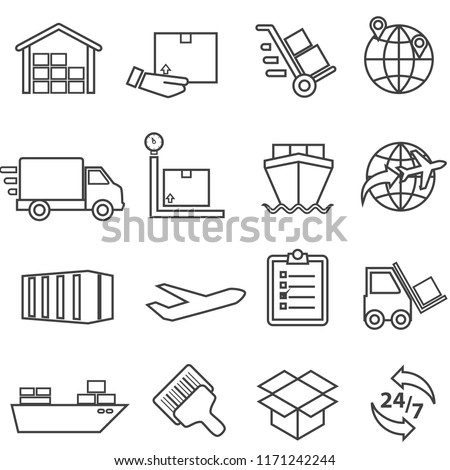 Shipping, cargo, delivery, distribution, freight and warehouse web line icon set