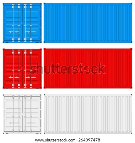 Shipping container. Vector illustration isolated on white background