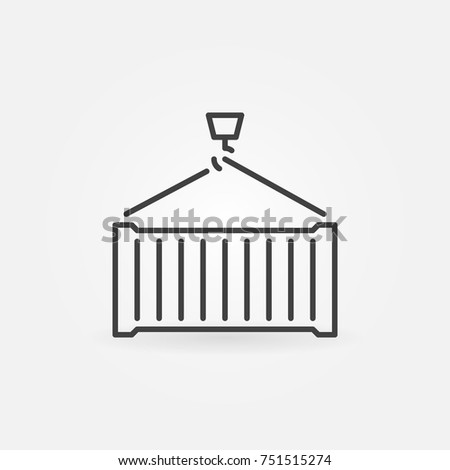 Shipping container vector minimal concept icon or symbol in thin line style