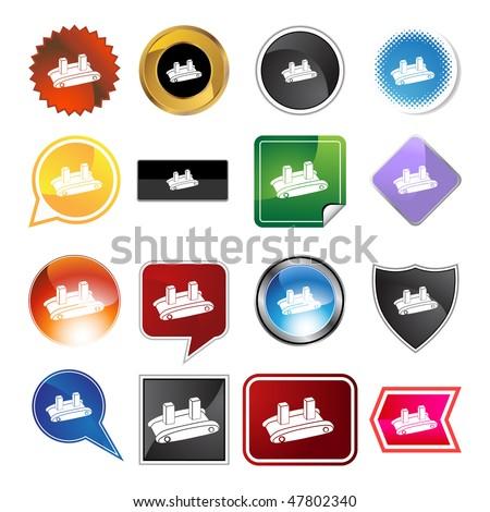 Shipping conveyor belt icon isolated on a white background.