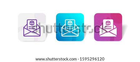 shipping email notification icon in outline and solid style with colorful smooth gradient background, suitable for mobile and web UI, app button, infographic, etc Photo stock ©