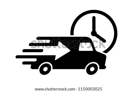 Shipping fast delivery arrow van with clock icon symbol, Pictogram flat design for apps and websites, Isolated on white background, Vector illustration