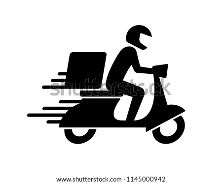 Shipping fast delivery man ridding motorcycle icon symbol, Pictogram flat design for apps and websites, Isolated on white background, Vector illustration
