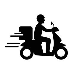 Shipping fast delivery man riding motorcycle icon symbol, Pictogram flat design for apps and websites, Isolated on white background, Vector illustration