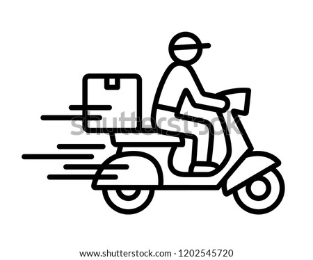 Shipping fast delivery man riding motorcycle icon symbol, Pictogram flat outline design for apps and websites, Isolated on white background, Vector illustration