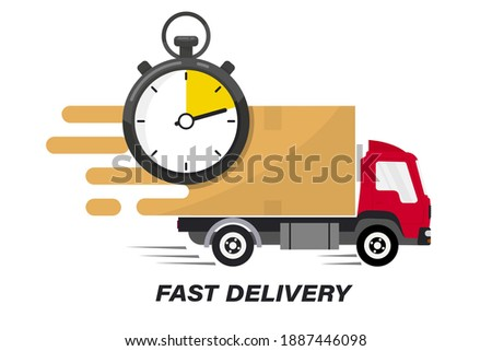 Shipping fast delivery truck with clock. Online delivery service. Express delivery, quick move. Fast shipping truck for apps and websites. Line cargo van moving fast. Chronometer, fast service 24 7 Сток-фото ©