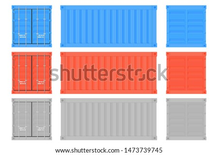 Shipping freight container. Colored intermodal containers set. Vector illustration isolated on white background