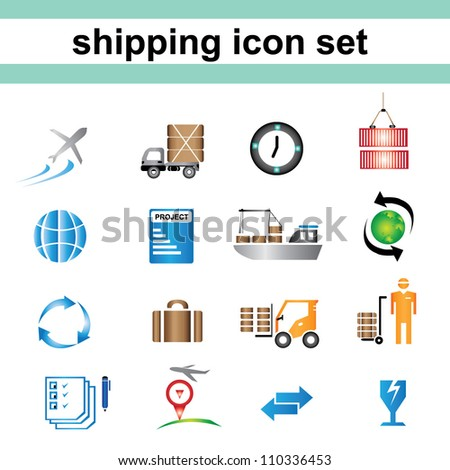 shipping icon set, color