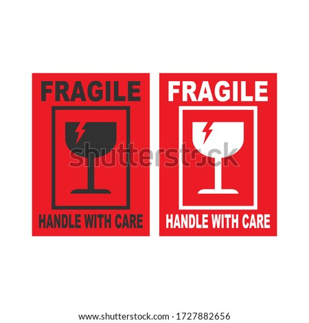 Shipping label Packaging Stickers vector Illustration on white background fragile Stock foto ©
