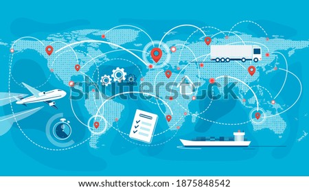 Shipping, logistic supply chain vector illustration. Export, import concept background with global earth map, pointers and connections. Plane, truck, cargo boat delivery symbols. Photo stock ©