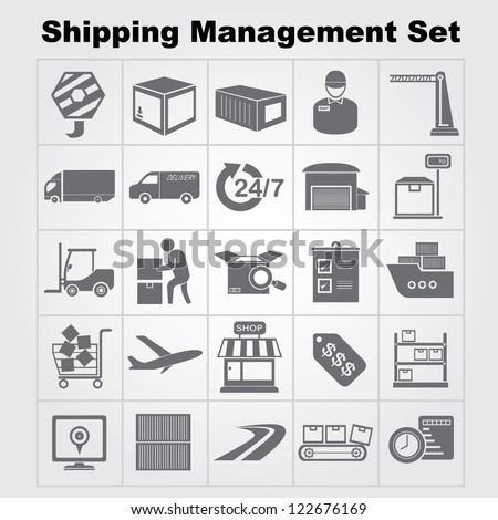 shipping management icon set, vector #122676169