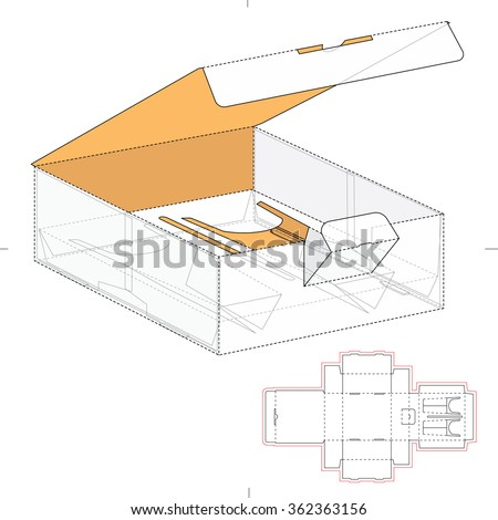 Shipping Slim Retail Box With Die Cut Template 362363156