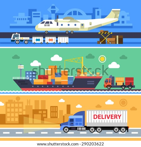 Shipping transport, delivery. Land, water and air types of transportation. Aircraft, ships and truck vector flat illustrations.