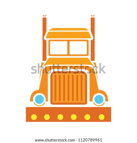 shipping truck illustration isolated, delivery service sign - heavy lorry. logistic concept
