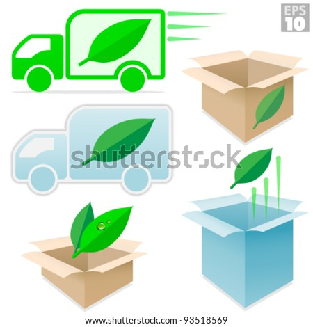 Shipping trucks and cardboard boxes environmentally safe, fast delivery