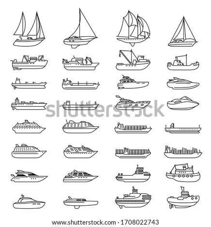 Ships and boats set. Barge and cargo ship, tanker, sailing vessel, cruise liner, tugboat, fishing and speed boat. Vector illustration