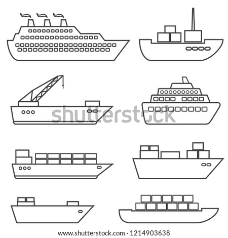 Ships, boats, cargo, logistics, transportation and shipping line icon set