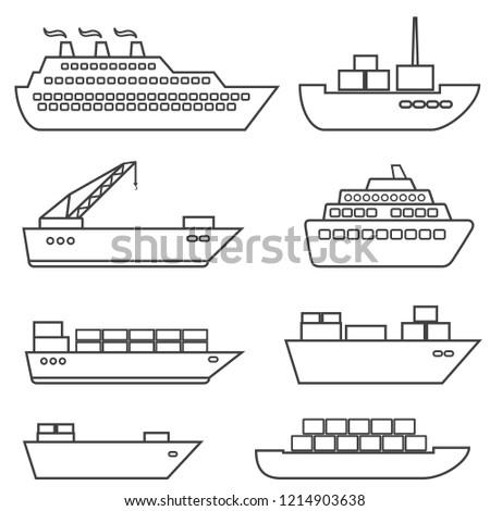Ships, boats, cargo, logistics, transportation and shipping line icon set