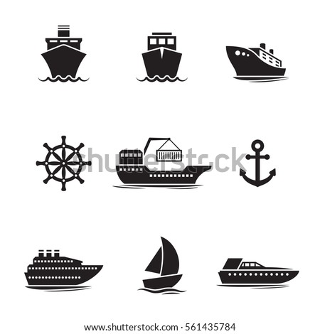 ships  boats icons set black
