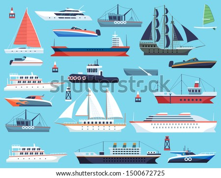 Ships in harbor. Shipping speedboating cruiser and sailboat, isolated vector flat sea marine travel system commercial transport set