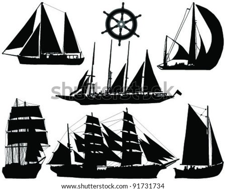 ships silhouettes collection-vector - stock vector