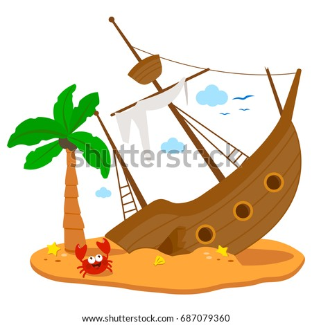 Shipwreck. A broken ship on a deserted island with a palm tree and a crab.