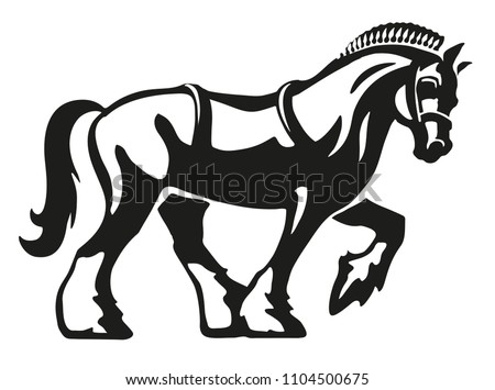 Shire Horse / Draft Horse / Heavy Horse, vector logo illustration, fully adjustable & scalable.