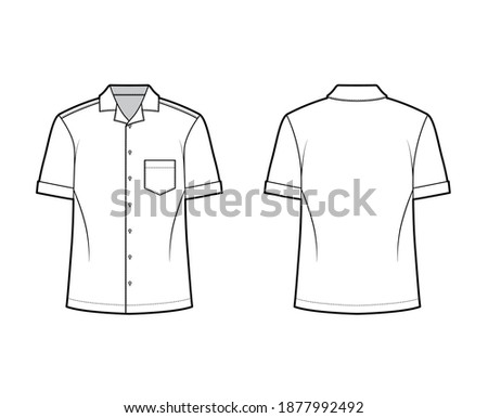 Shirt camp technical fashion illustration with short sleeves, angled patch pocket, relax fit, button-down, open collar. Flat template front, back white color. Women men unisex top CAD mockup Stock photo ©