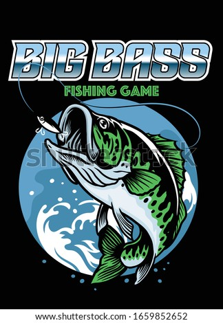 shirt design of catching big bass fish