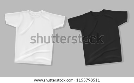 Shirt mock up on gray background. T-shirt template. White and black version, front design.