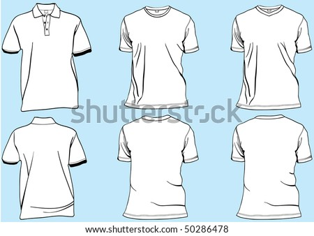 Shirt or golf tshirt set template with collar,v-neck and round neck.Front and back in separate layers easily editable